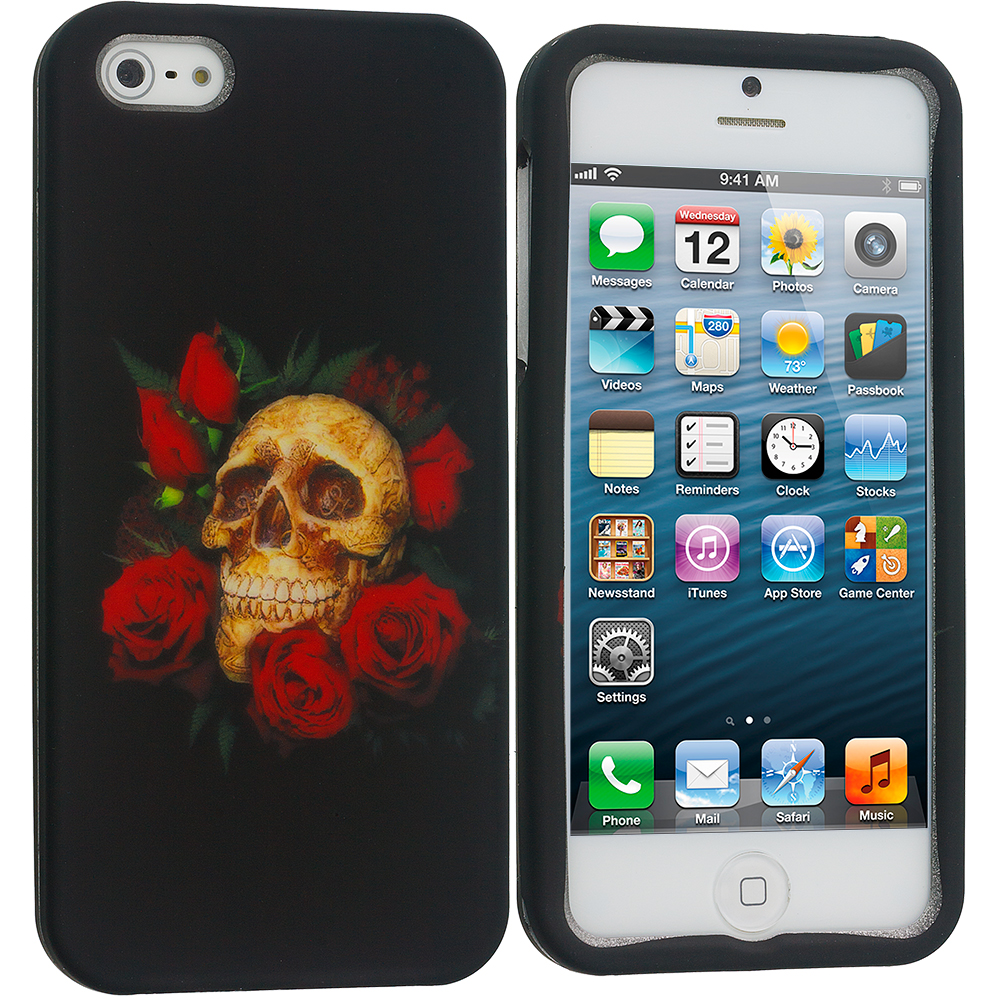 Apple iPhone 5/5S/SE 4 in 1 Combo Bundle Pack - Skulls Hard Rubberized Design Case Cover : Color Rose Skull