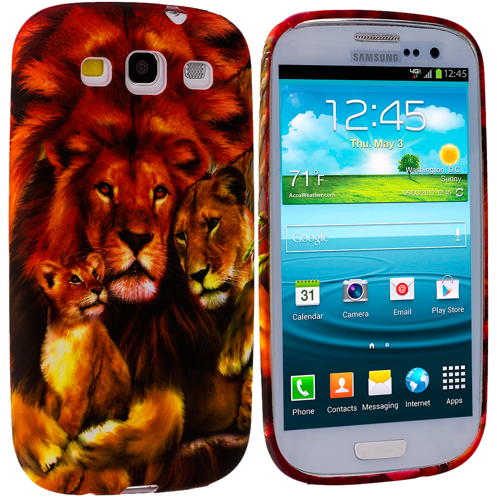 Samsung Galaxy S3 4 in 1 Combo Bundle Pack - Animals TPU Design Soft Case Cover : Color Lion