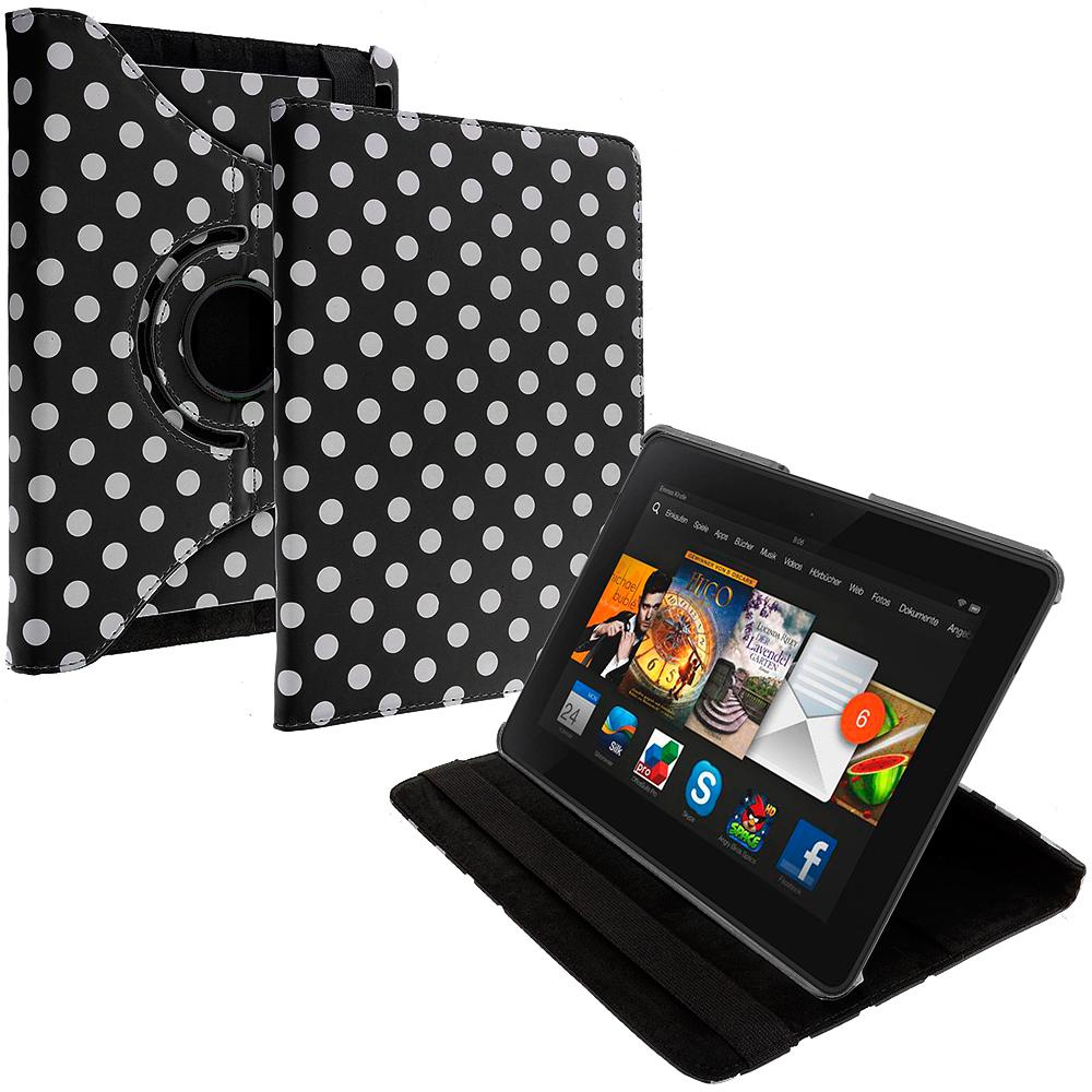 Amazon Kindle Fire HDX 7 Black White Polka Dot 360 Rotating Leather Pouch Case Cover Stand
