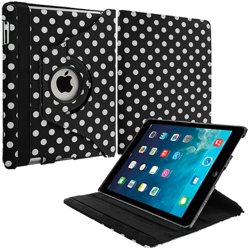 Apple iPad Mini Black White Polka Dot 360 Rotating Case Cover Pouch Stand