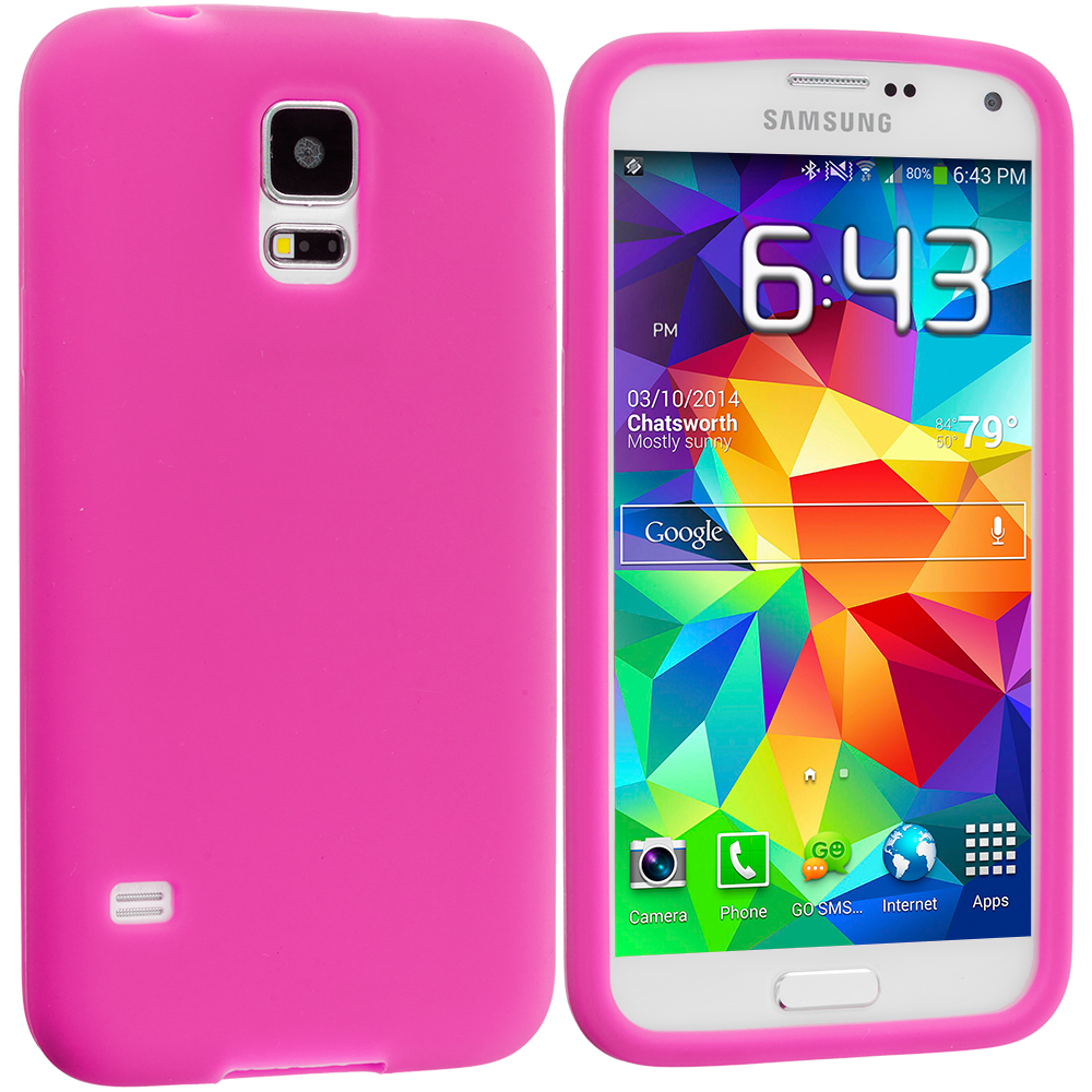 Samsung Galaxy S5 2 in 1 Combo Bundle Pack - White Hot Pink Silicone Soft Skin Case Cover : Color Hot Pink