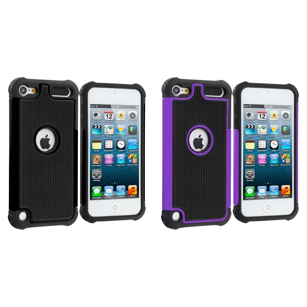 Apple iPod Touch 5th 6th Generation 2 in 1 Combo Bundle Pack - Black / Purple Hybrid Rugged Hard/Soft Case Cover