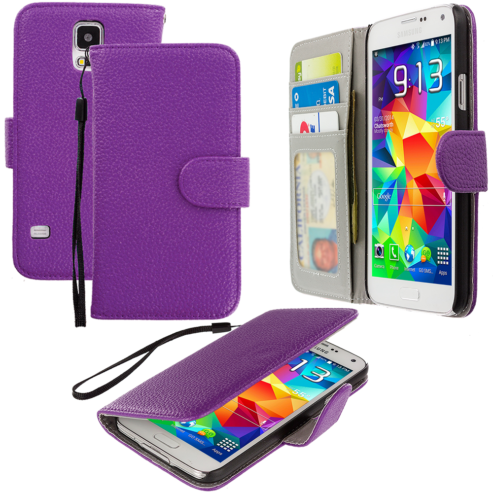 Samsung Galaxy S5 Purple Leather Wallet Pouch Case Cover with Slots