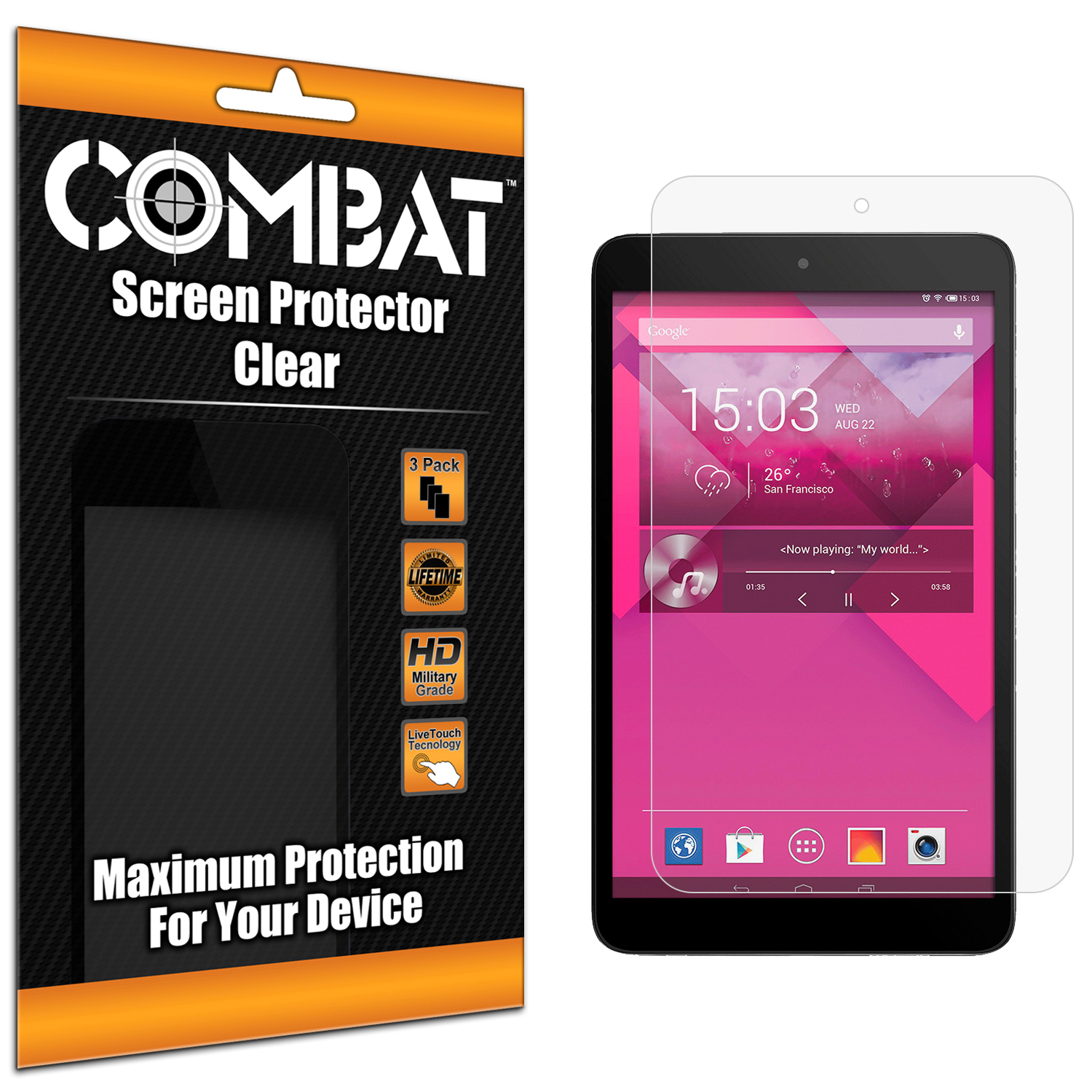 Alcatel One Touch POP 8 Combat 3 Pack HD Clear Screen Protector