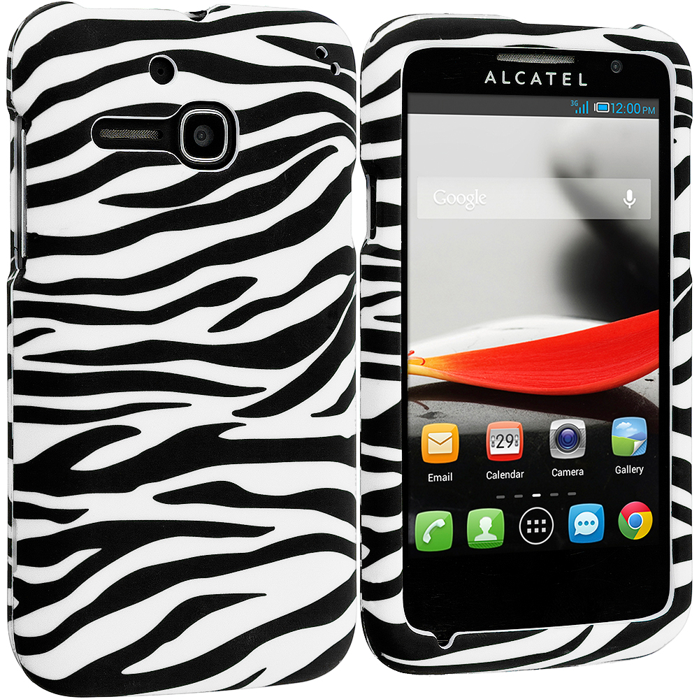 Alcatel One Touch Evolve 5020T Black/White Zebra Hard Rubberized Design Case Cover