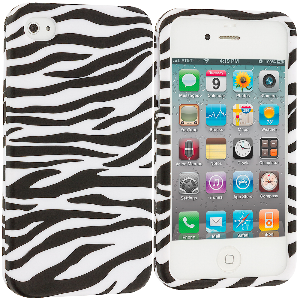 Apple iPhone 4 / 4S 2 in 1 Combo Bundle Pack - White / Hot Pink Zebra Hard Rubberized Design Case Cover : Color Black/White Zebra