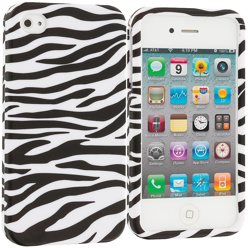 Apple iPhone 4 / 4S Black/White Zebra Hard Rubberized Design Case Cover