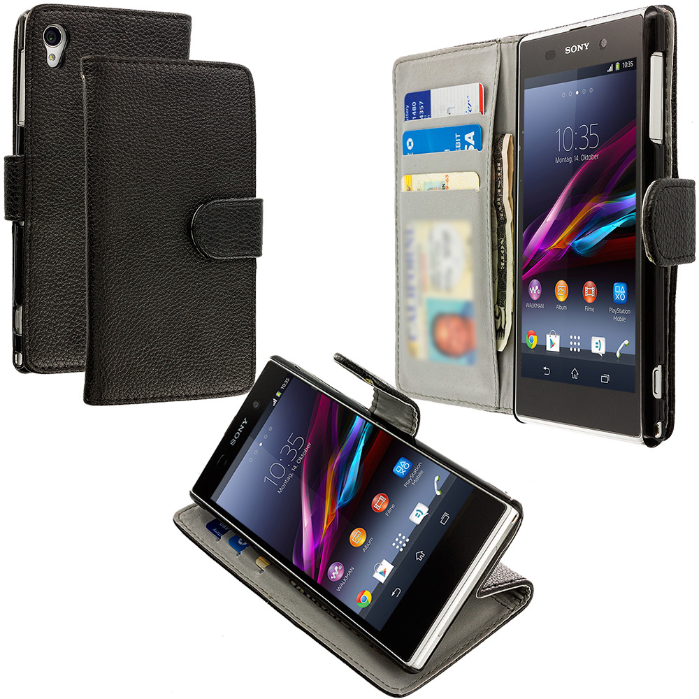Sony Xperia Z1S Black Leather Wallet Pouch Case Cover with Slots