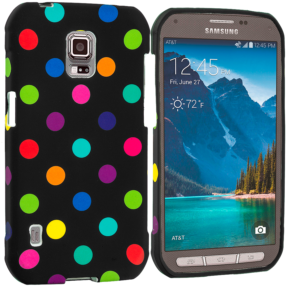 Samsung Galaxy S5 Active Black / Colorful TPU Design Soft Rubber Case Cover
