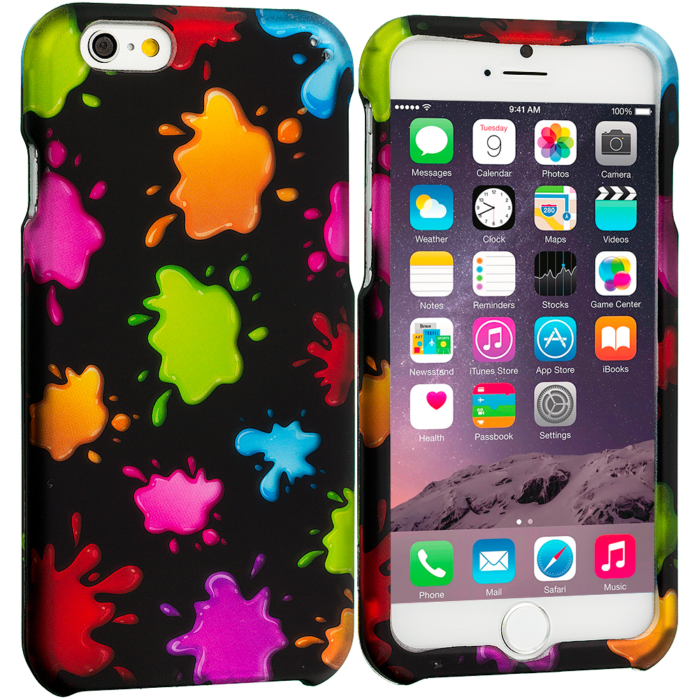 Apple iPhone 6 6S (4.7) Colorful Splash 2D Hard Rubberized Design Case Cover