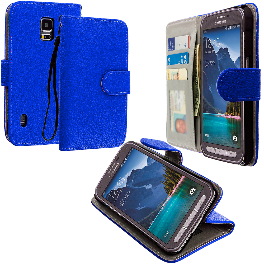 Samsung Galaxy S5 Active Blue Leather Wallet Pouch Case Cover with Slots