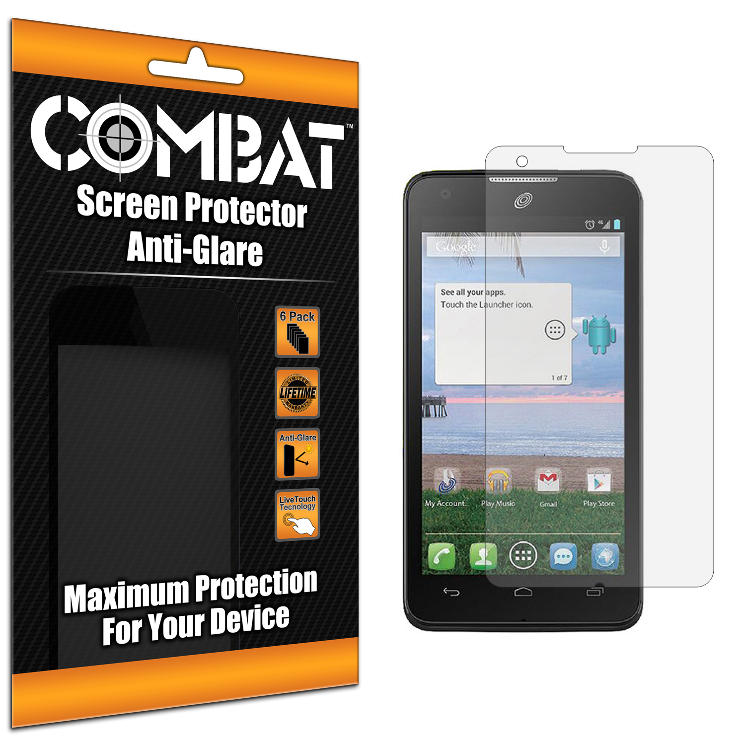 Alcatel One Touch Sonic A851L Combat 6 Pack Anti-Glare Matte Screen Protector