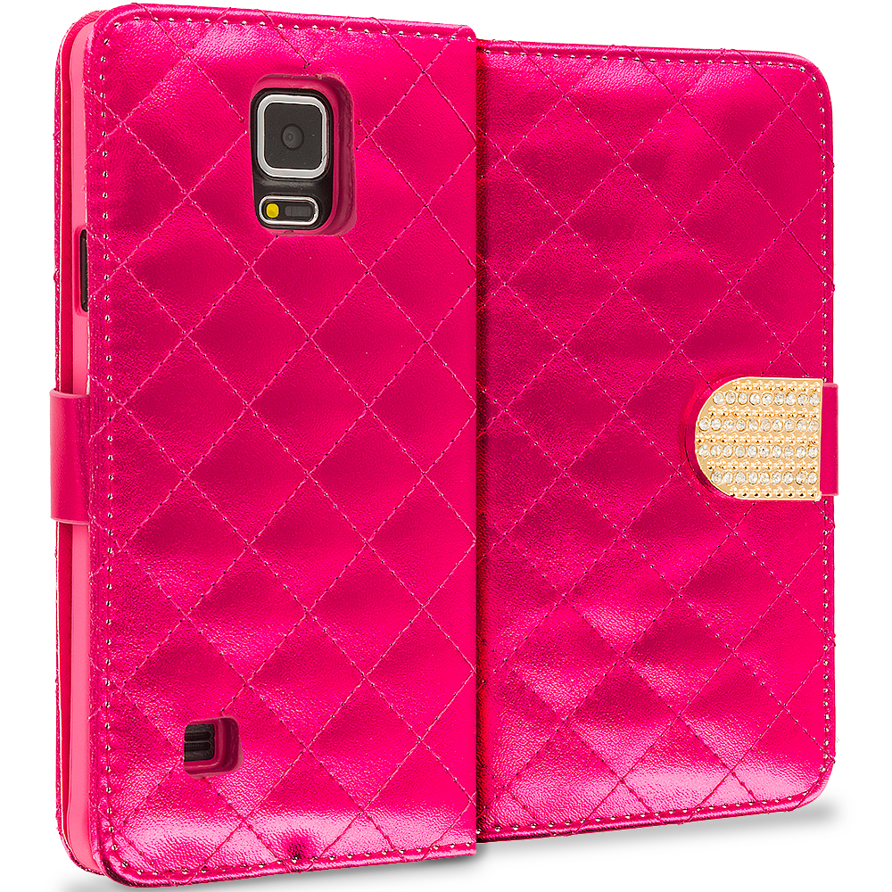 Samsung Galaxy Note 4 Red Luxury Wallet Diamond Design Case Cover With Slots