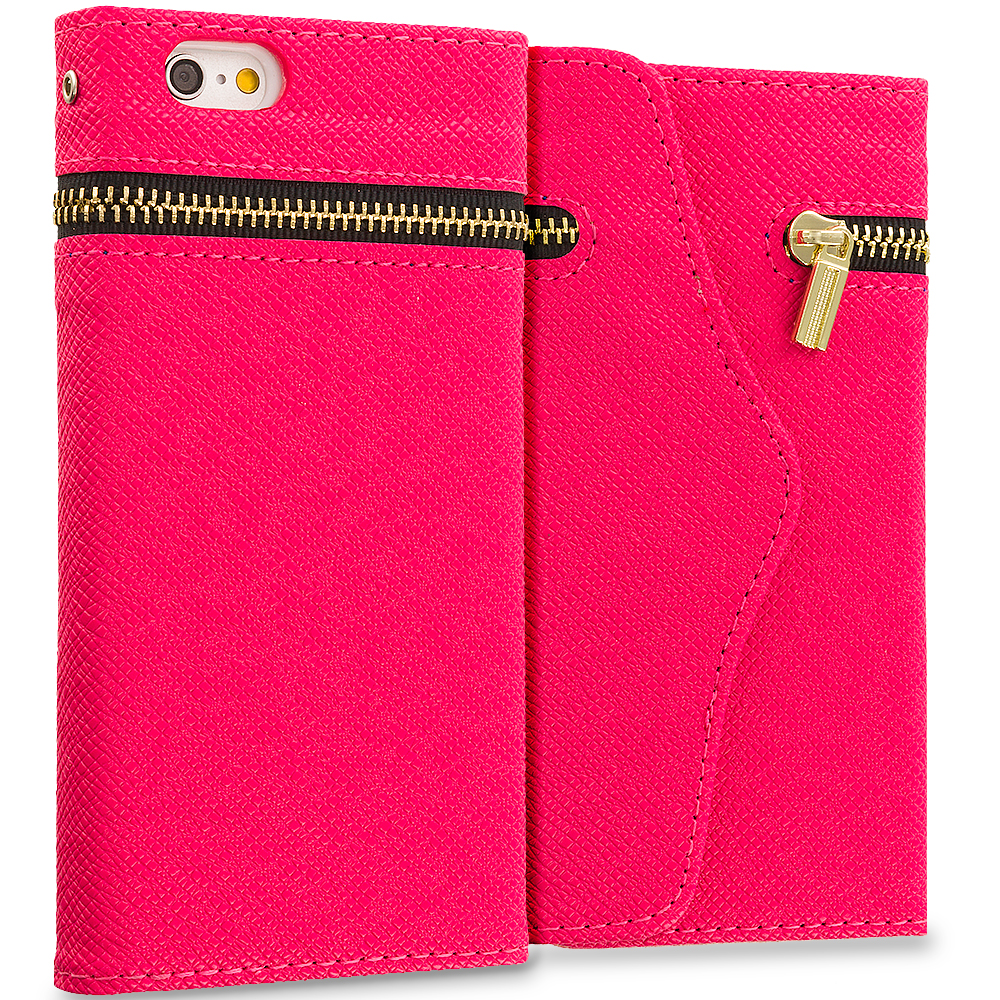 Apple iPhone 6 6S (4.7) Hot Pink Zipper Wallet Case Cover Pouch With Slots