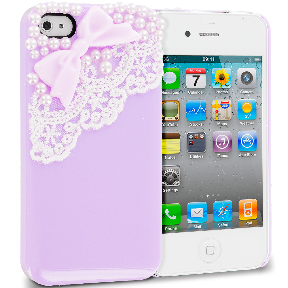 Apple iPhone 4 / 4S Purple Pearls Crystal Hard Back Cover Case