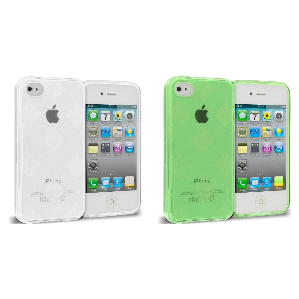 Apple iPhone 4 / 4S 2 in 1 Combo Bundle Pack - Neon Green Clear Diamond TPU Rubber Skin Case Cover