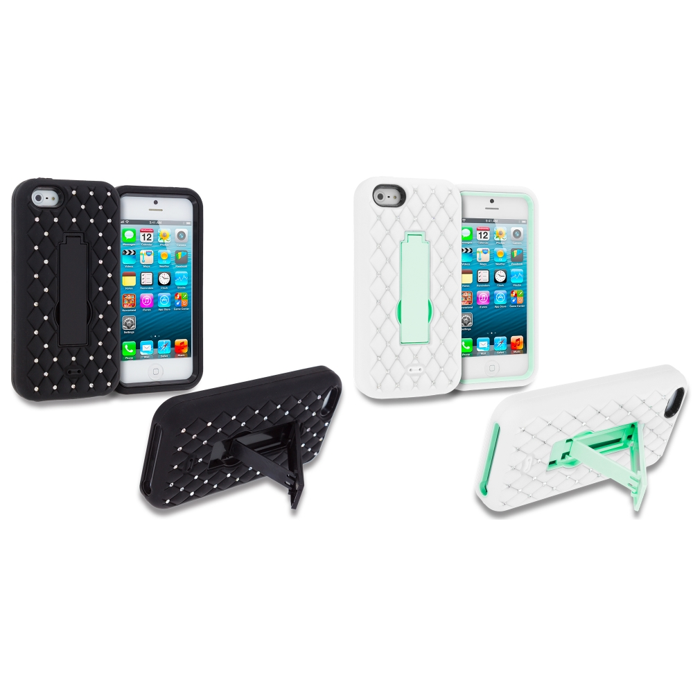 Apple iPhone 5/5S/SE Combo Pack : Black / Black Hybrid Diamond Bling Hard Soft Case Cover with Kickstand