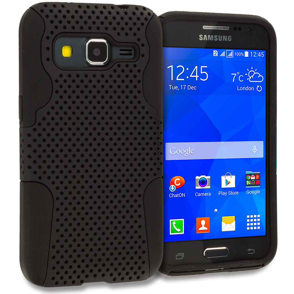 Samsung Galaxy Prevail LTE Core Prime G360P Black / Black Hybrid Mesh Hard/Soft Case Cover