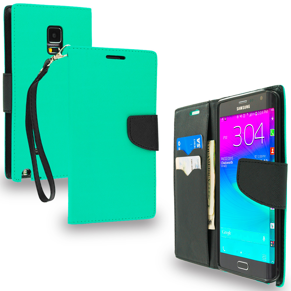 Samsung Galaxy Note Edge Mint Green / Black Leather Flip Wallet Pouch TPU Case Cover with ID Card Slots