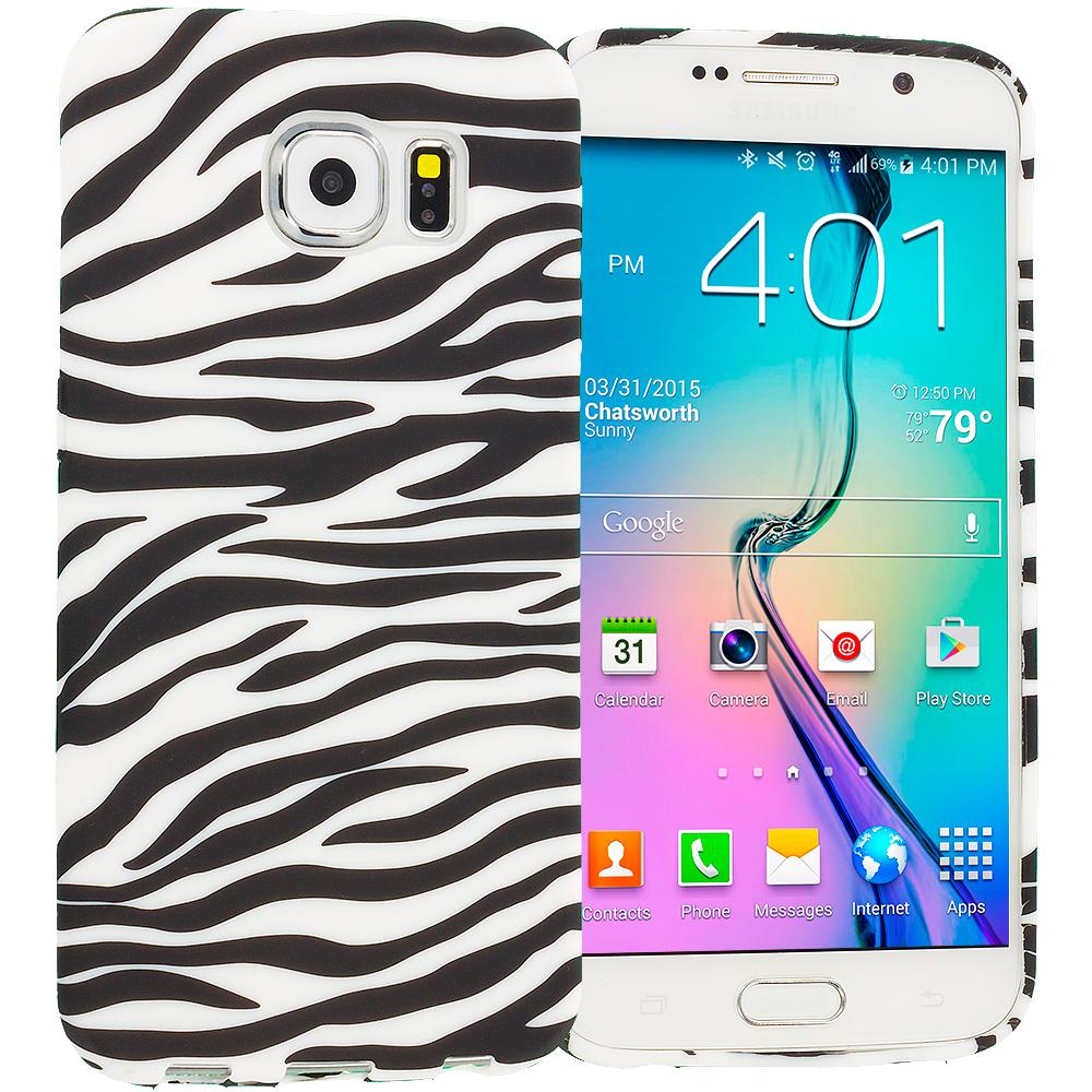 Samsung Galaxy S6 Black/White Zebra TPU Design Soft Rubber Case Cover