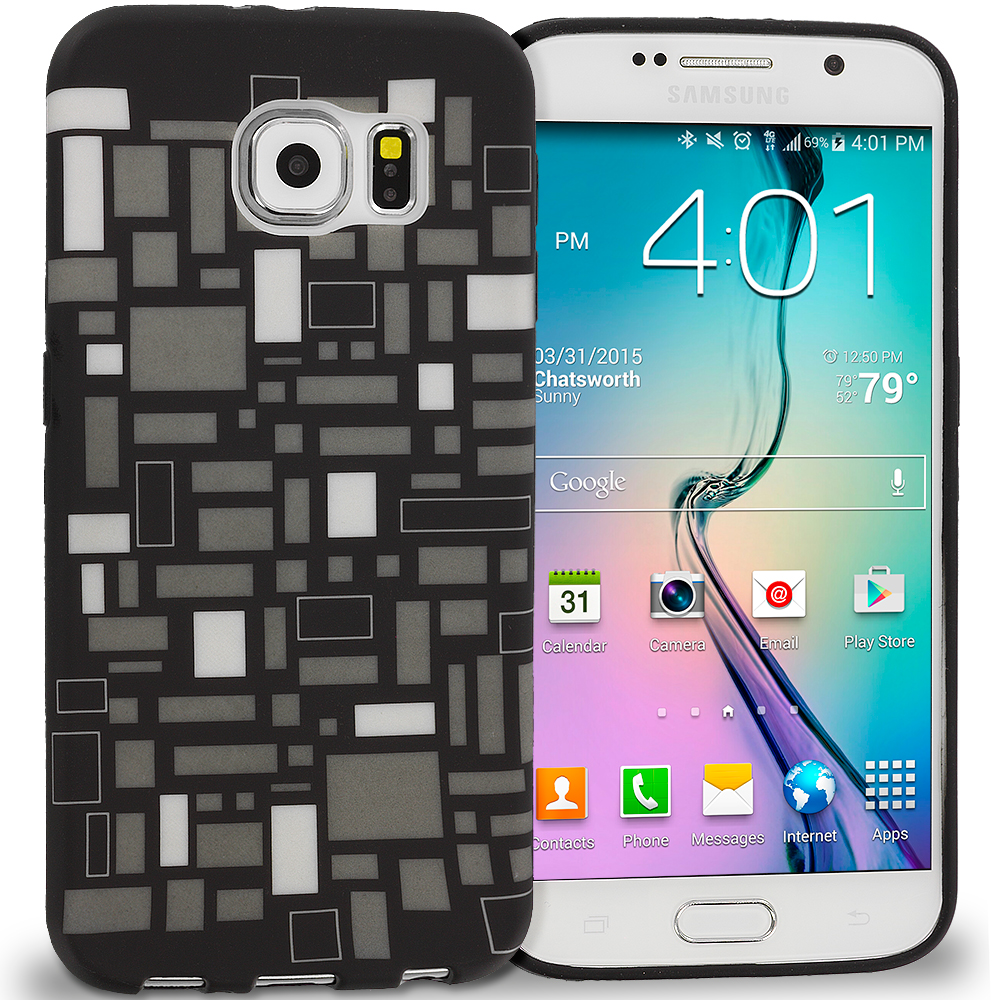 Samsung Galaxy S6 Black White Squares TPU Design Soft Rubber Case Cover