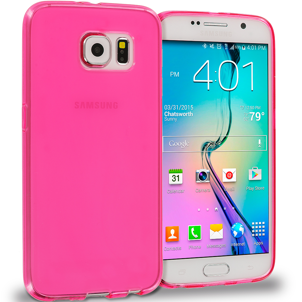Samsung Galaxy S6 Combo Pack : Hot Pink Plain TPU Rubber Skin Case Cover : Color Light Pink Plain