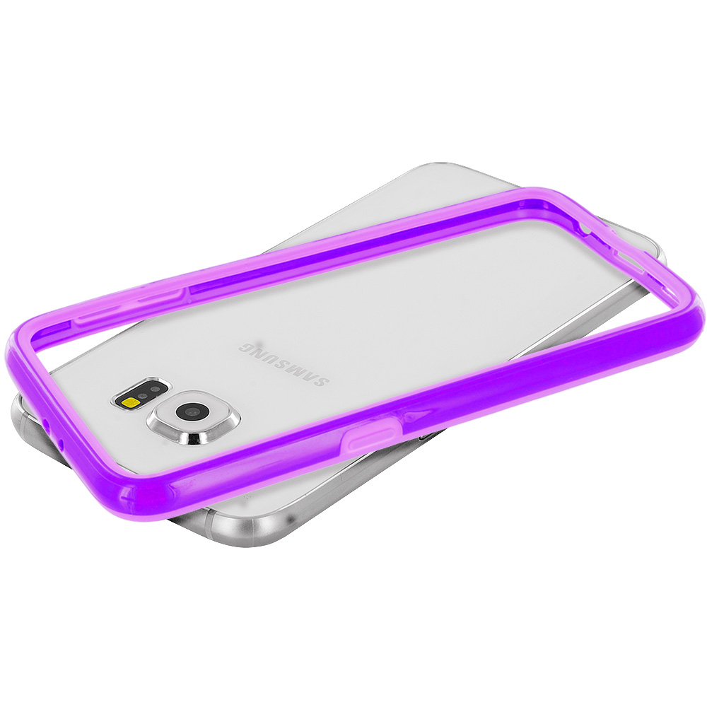 Samsung Galaxy S6 Combo Pack : Purple TPU Bumper Frame Case Cover : Color Purple