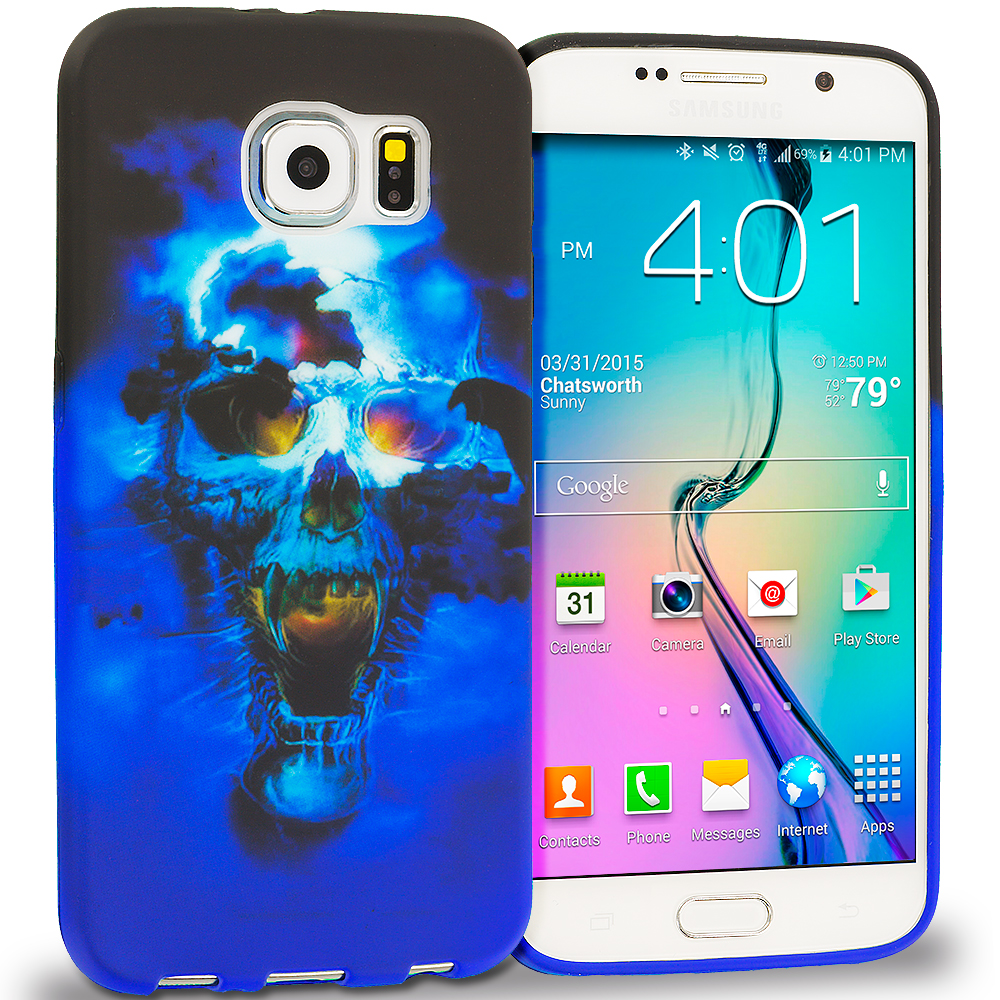 Samsung Galaxy S6 Edge Blue Skulls TPU Design Soft Rubber Case Cover