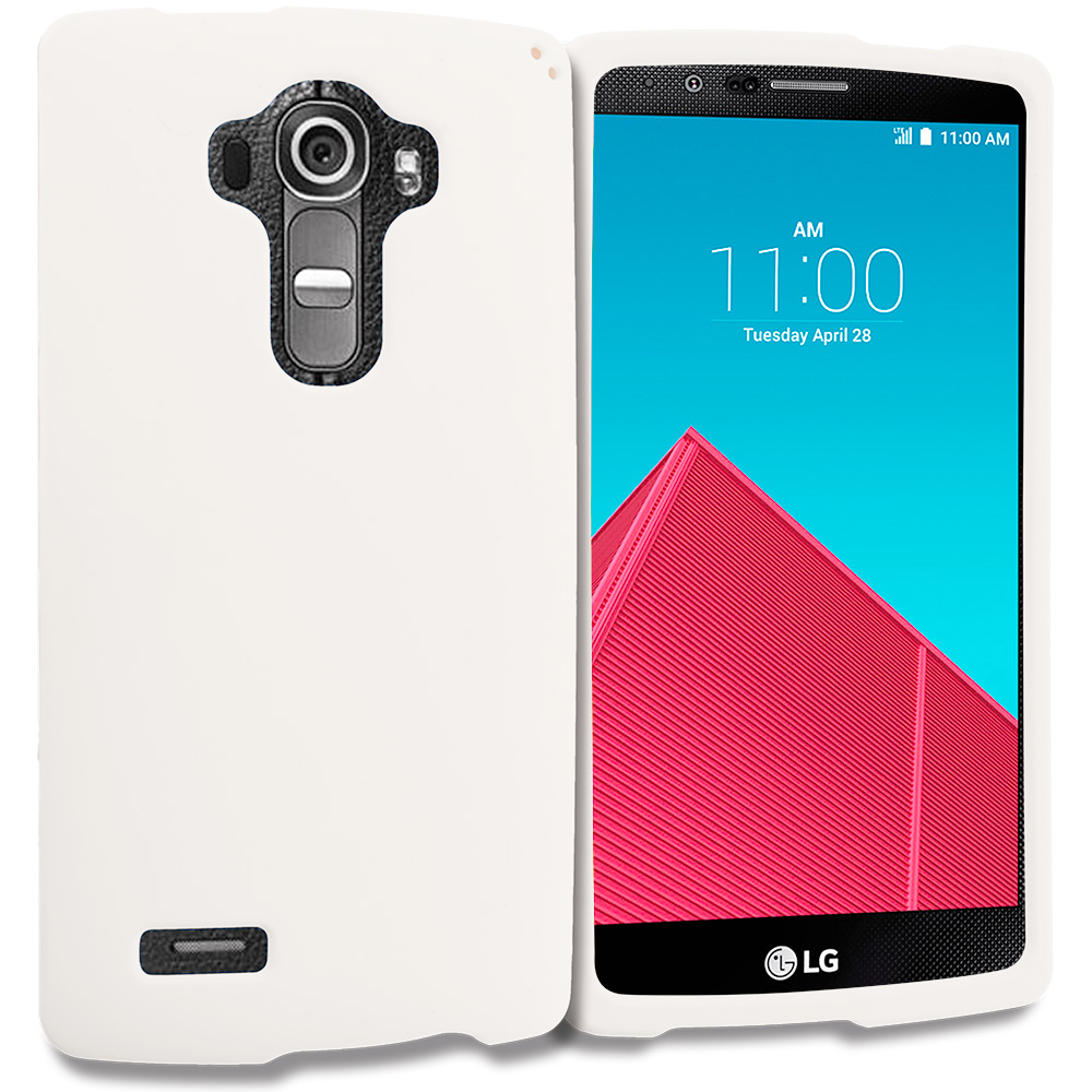 LG G4 White Hard Rubberized Case Cover