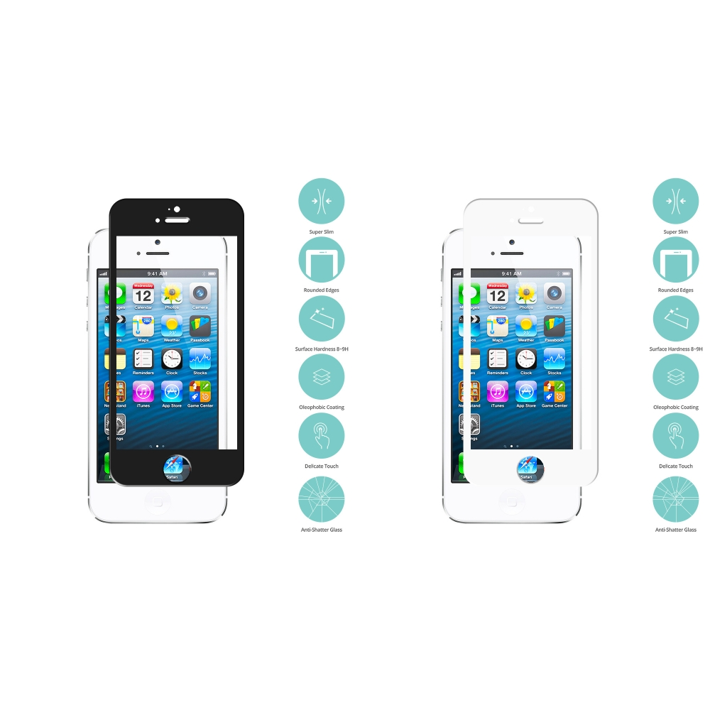 Apple iPhone 5/5S/SE/5C 2 in 1 Combo Bundle Pack - Black White Tempered Glass Film Screen Protector Colored