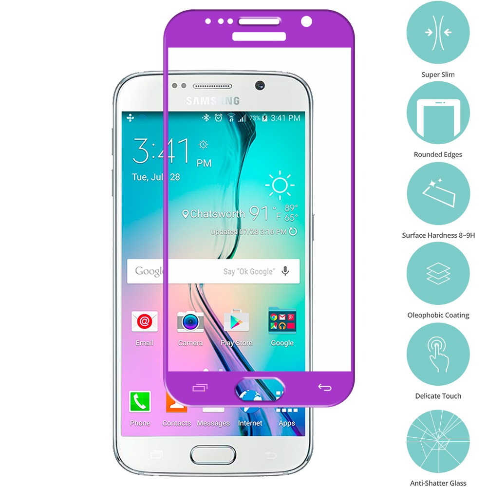 Samsung Galaxy S6 Purple Tempered Glass Film Screen Protector Colored