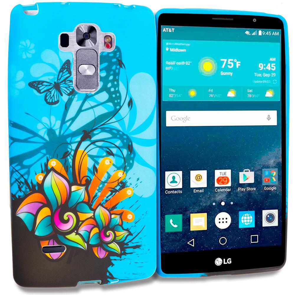 LG G Vista 2 Blue Butterfly Flower TPU Design Soft Rubber Case Cover