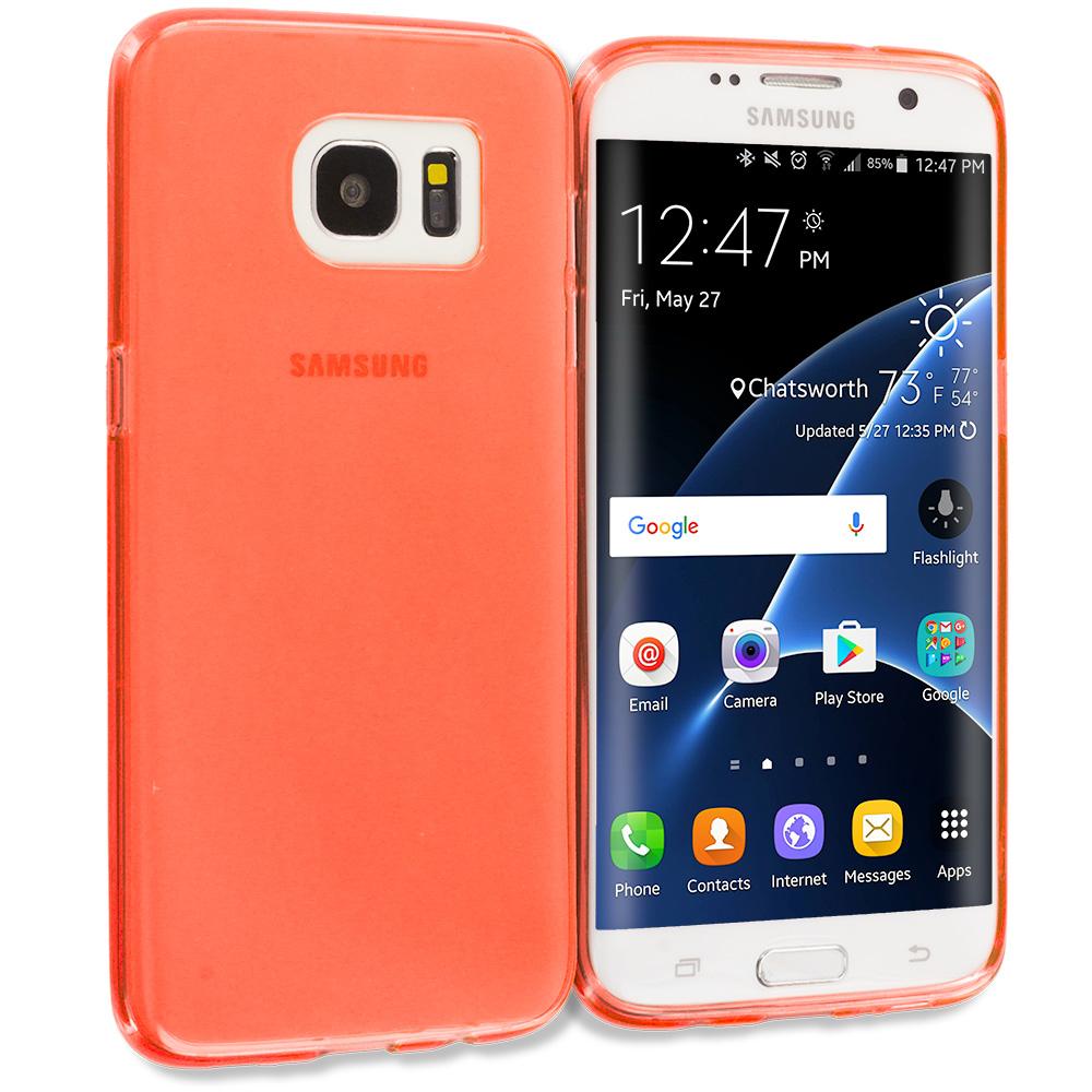 Samsung Galaxy S7 Edge Orange TPU Rubber Skin Case Cover