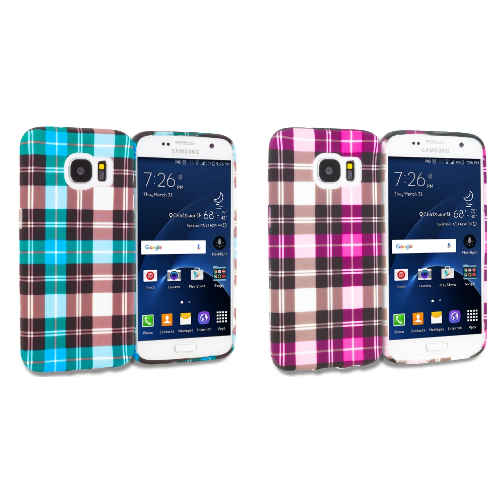 Samsung Galaxy S7 Combo Pack : Blue Checkered TPU Design Soft Rubber Case Cover