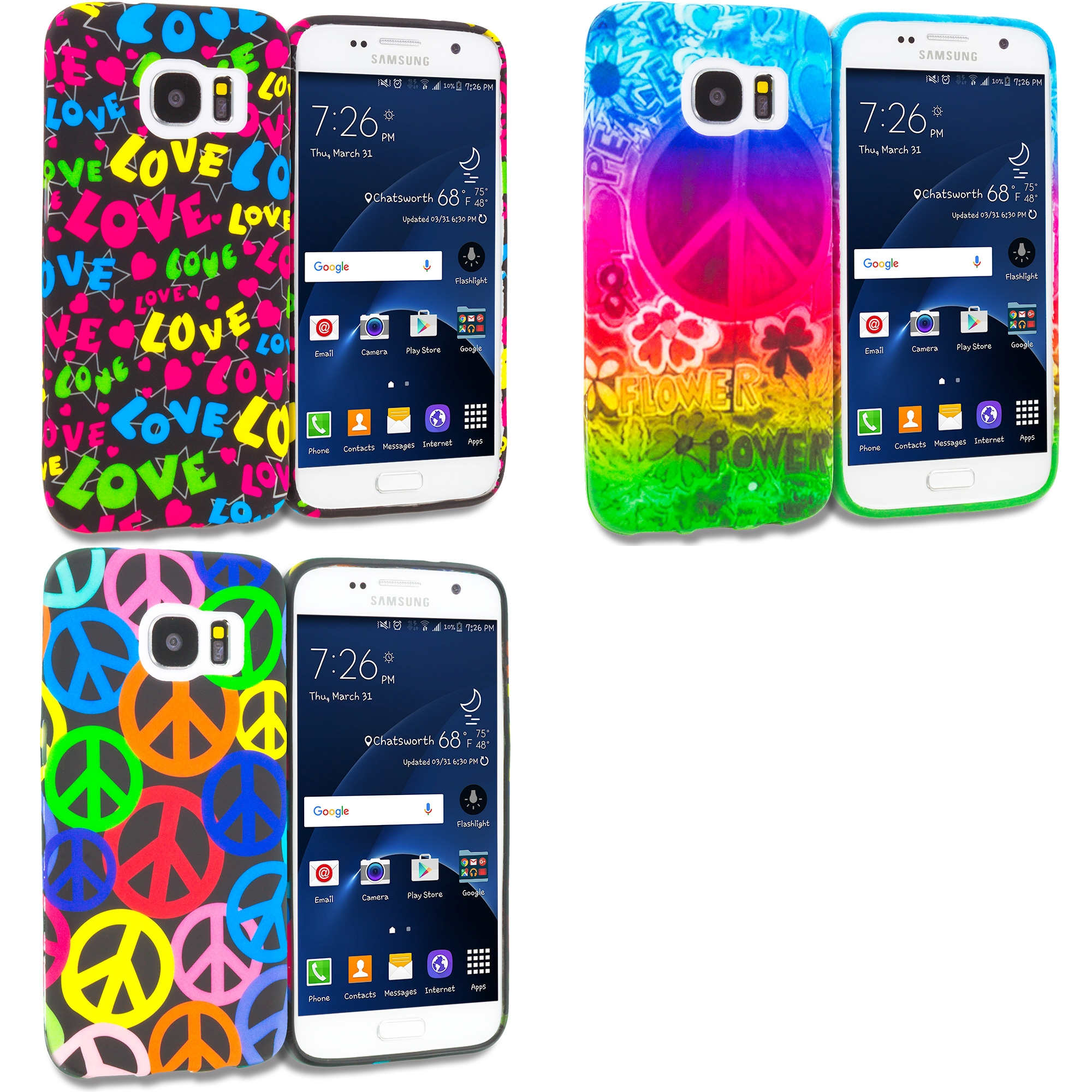 Samsung Galaxy S7 Combo Pack : Flower Power TPU Design Soft Rubber Case Cover