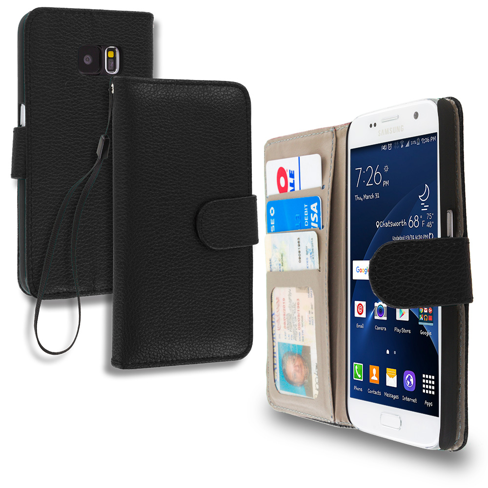 Samsung Galaxy S7 Combo Pack : Black Leather Wallet Pouch Case Cover with Slots : Color Black