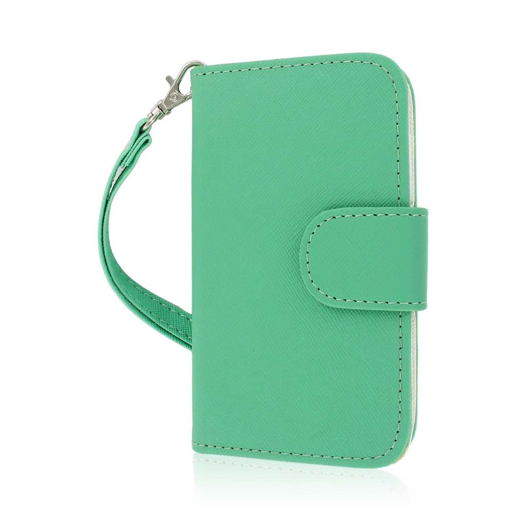 Alcatel OneTouch Evolve - Mint/ White MPERO FLEX FLIP Wallet Case Cover