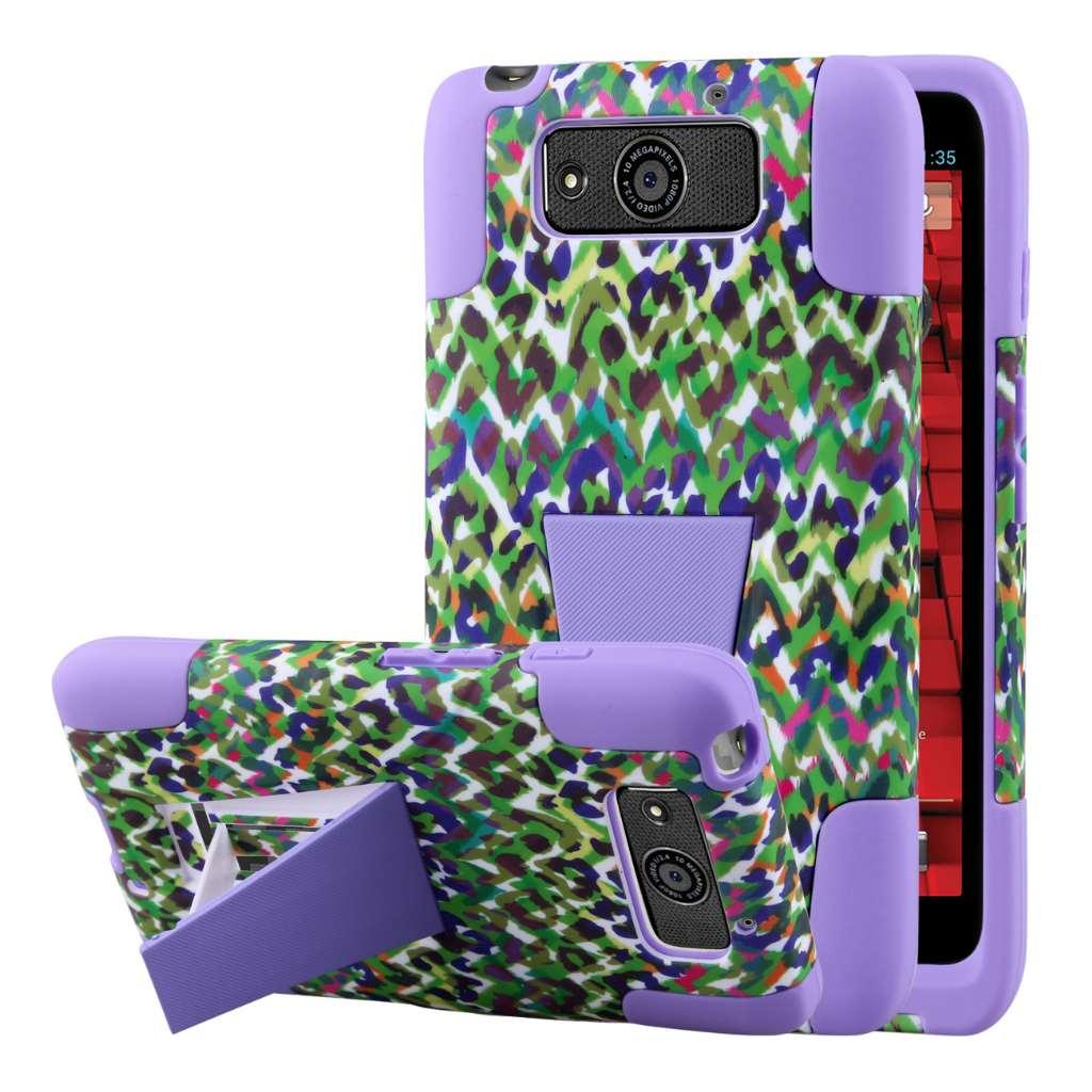 Motorola DROID MAXX / Ultra - Purple Rainbow Leopard MPERO IMPACT X - Case