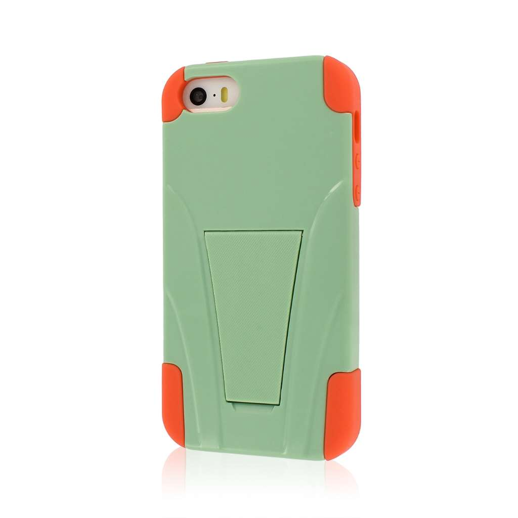 Apple iPhone 5/5S/SE - Coral/ Mint MPERO IMPACT X - Kickstand Case Cover