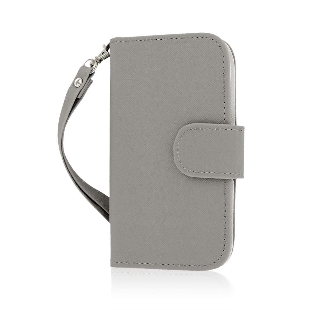 HTC One SV - Gray MPERO FLEX FLIP Wallet Case Cover