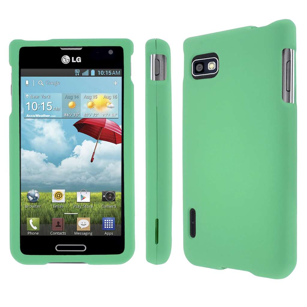 LG Optimus F3 MPERO Full Protection Hard Rubberized Mint Case Cover