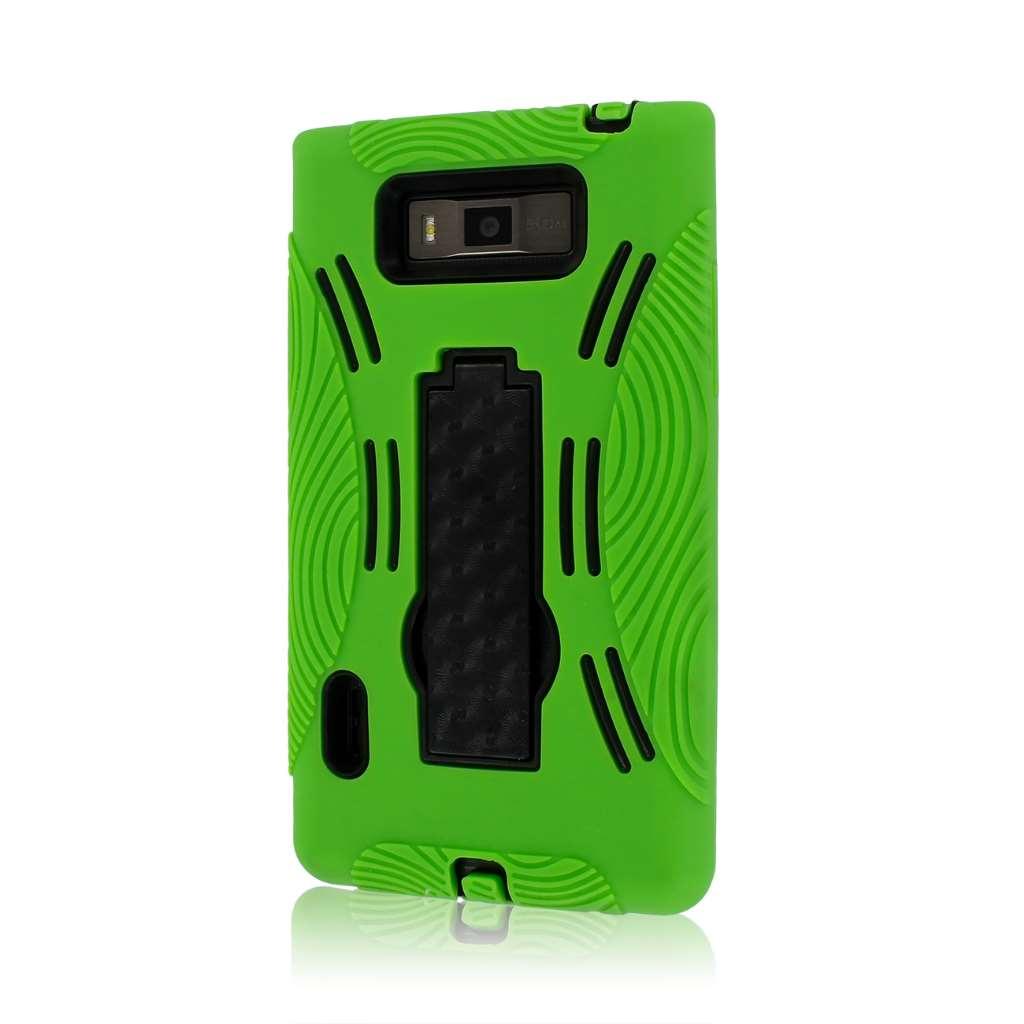 LG Splendor / Venice US730 - Neon Green MPERO IMPACT XL - Kickstand Case