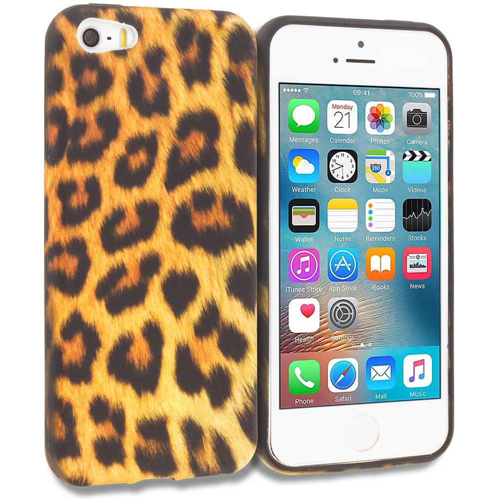 Apple iPhone 5/5S/SE Combo Pack : Black Giraffe TPU Design Soft Rubber Case Cover : Color Black Leopard on Golden