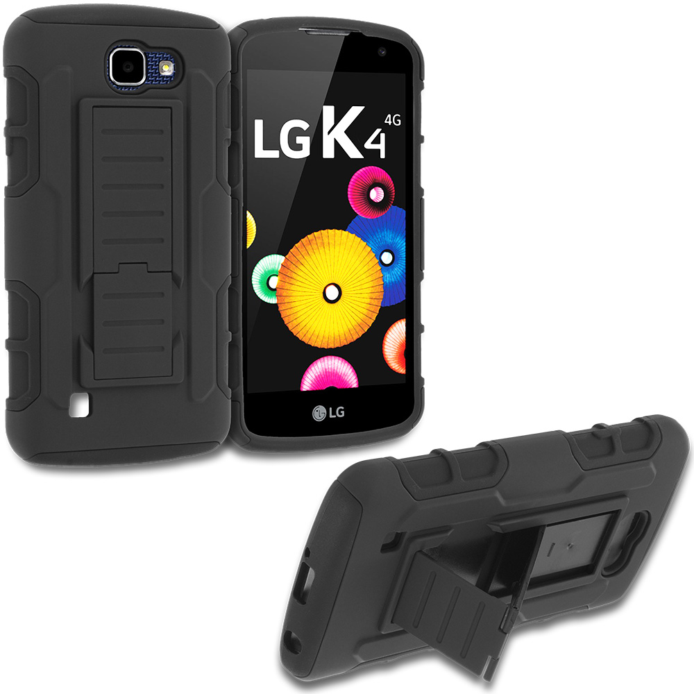 LG Spree Optimus Zone 3 VS425 K4 Black Hybrid Shock Absorption Robot Armor Heavy Duty Case Cover with Belt Clip Holster