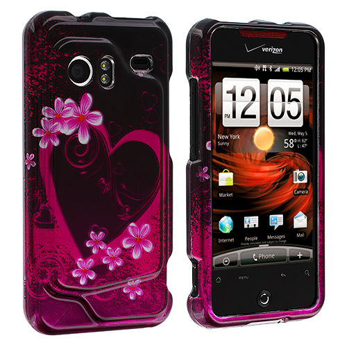 HTC Droid Incredible 6300 Purple Love Design Crystal Hard Case Cover