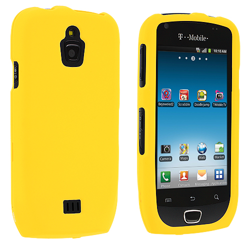 Samsung Exhibit 4G T759 Yellow Hard Rubberized Case Cover