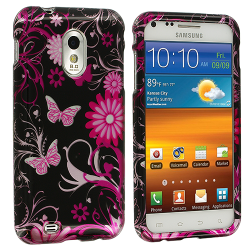 Samsung Epic Touch 4G D710 Sprint Galaxy S2 Pink Butterfly Flower Design Crystal Hard Case Cover