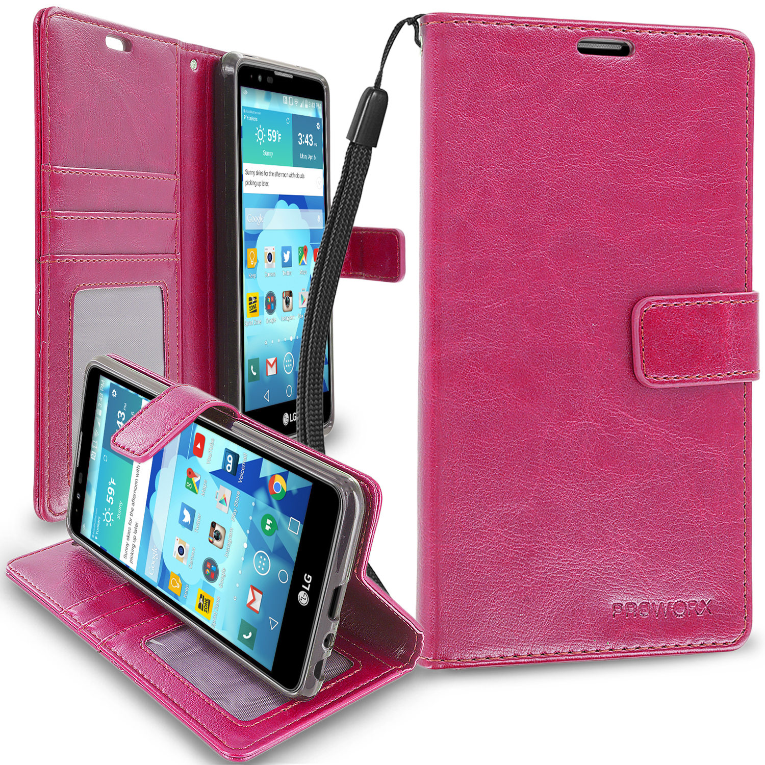 LG G Stylo 2 LS775 / Stylus 2 K520 / Stylo 2 V VS835 Hot Pink ProWorx Wallet Case Luxury PU Leather Case Cover With Card Slots & Stand