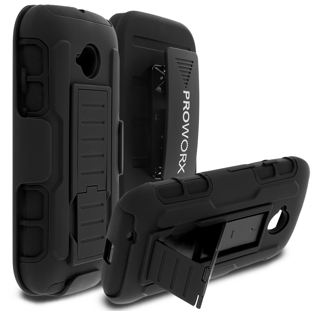 Motorola Moto E LTE 2nd Generation Black ProWorx Heavy Duty Shock Absorption Armor Defender Holster Case Cover With Belt Clip