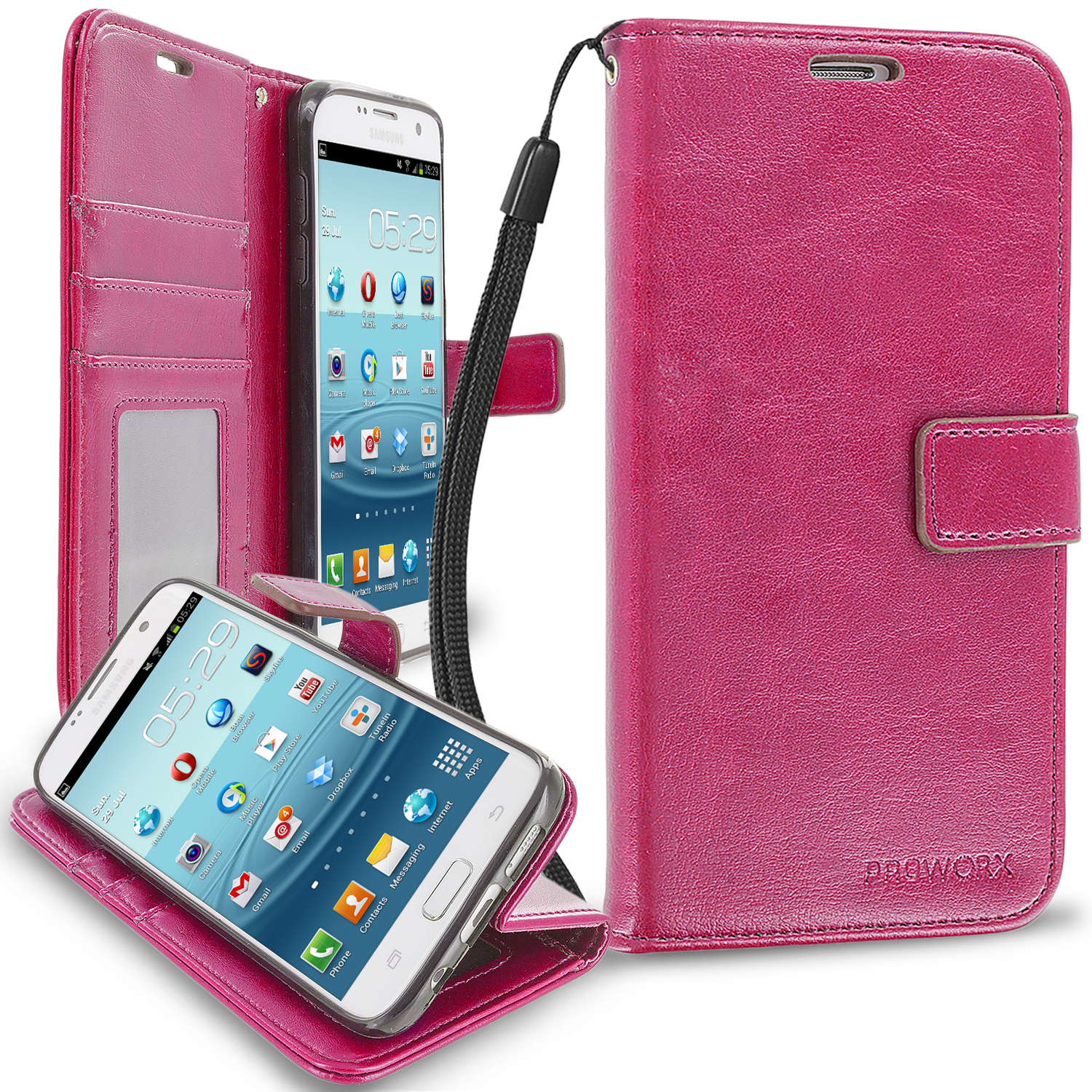 Samsung Galaxy S7 Edge Hot Pink ProWorx Wallet Case Luxury PU Leather Case Cover With Card Slots & Stand